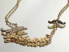 Betsey Johnson Word Necklace Mysterious with Mustache Fashion Jewelry Authentic