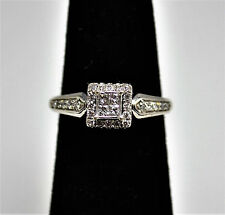 #6754 - Sparkling - 14k White Gold - Square Diamond Cluster Ring - Engagement