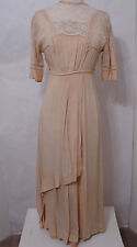 Vintage EDWARDIAN Ecru Bias Cut Dolman Needle Lace Detail Asy Wedding Gown XS