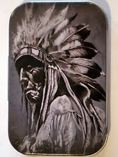 new slim 1oz hinged tobacco tin  native american Indian