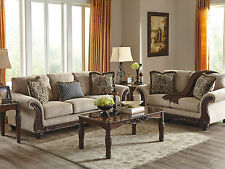 ROMEO-Traditional Wood Trim Gray Fabric Sofa Couch Set Living Room New Furniture