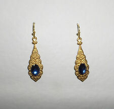 SMALL PERSIAN PATTERN DARK GOLD PLATED EARRINGS MID BLUE GLASS STONE
