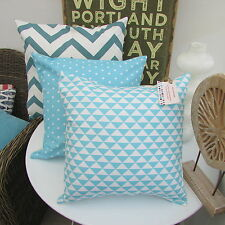 CUSHION COVER COTTON FABRIC GEOMETRIC TURQUOISE DUCK EGG BLUE TEAL TRIANGLE CFT