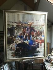 "NEW ORIGINAL DENNIS SYRETT ""Hong Kong Harbour"" Chinese LARGE OIL China PAINTING"