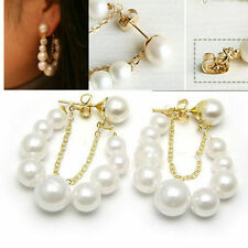 2015 Donne Korean Fashion Jewelry bianco Orecchini di Perle Orecchini Ear DIUK