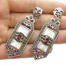 Sterling Silver Large Mother of Pearl Amethyst Marcasite Gorgeous Drop Earrings