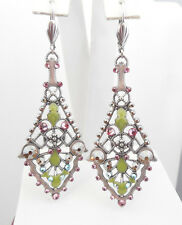 NWT ANNE KOPLIK  COLORFUL ART DECO CHANDLIER EARRINGS SWAROVSKI CRYSTALS