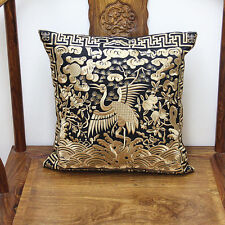New Chinese Vintage Silk Embroidered Black&Golden Cushion Cover Pillow Case
