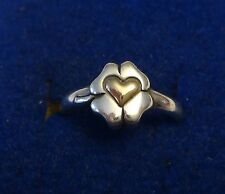 size 6 14K Gold Heart Sterling Silver 8mm 4 Leaf Clover on 2mm band Ring
