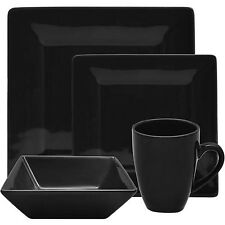 Black Dinnerware Set Square 16 Piece Dinner Plates Cups Dishes Kitchen Banquet