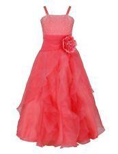 Flower Girls Bridesmaid Dress Wedding Birthday Party Prom Long Dresses Age 2-14
