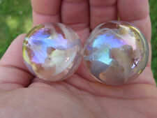2 BOULDERS 35mm PINK FAIRY Marbles glass ball jellyfish Soap Bubble Giant LARGE
