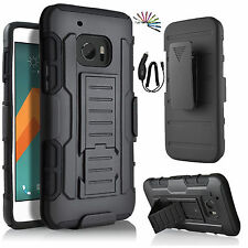 HTC 10 Hybrid iRob Rugged Holster Case Cover Stand Belt Clip +Car Charger+Stylus