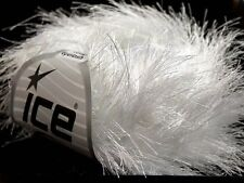 38Yd White Extra Long Eyelash Yarn Ice Luxurious White Fun Fur 13268 50gr