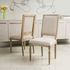 Set of 2 Weathered Oak Dark Coffee Stripe Fabric Dining Chairs
