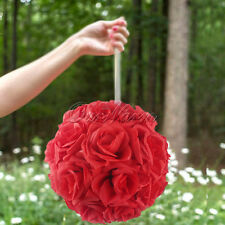 "5 Artificial 7.5"" Silk Rose Kissing Flower Balls Wedding Party Home Venue Decor"
