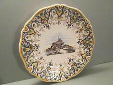 beau plat decoratif en faience de desvres ou rouen,decor du mont st michel