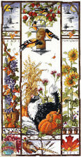 Cross Stitch Kit ~ Janlynn Classic Floral Autumn Cat Sampler #023-0580