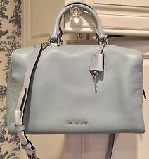 MICHAEL KORS $348 Kirby LARGE Leather Satchel Shoulder Bag Dusty Blue NWT