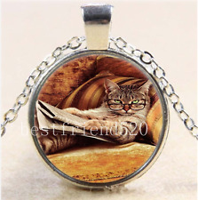 Cat Watch Book Photo Cabochon Glass Tibet Silver Chain Pendant Necklace#BM2