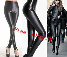 Lady High Waisted Women's Sexy Faux Leather Stretch Skinny Pants Slim Legging UF