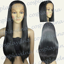 28 inch Hi_Temp Series Lace front Black Straight  Long Cosplay DNA Wigs T001