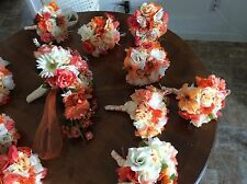 WEDDING FLOWERS BRIDAL Bouquets huge package ivory coral or your colors SALE