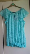 Women's size 16 blue top, white hearts, floaty sleeves, mesh type, bnwt,BHS