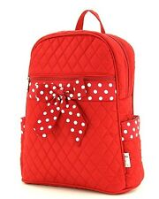 Belvah Quilted Backpack Large School Bag Red White Polka Dots