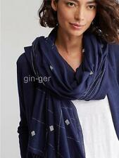 NIP NWT EILEEN FISHER Handloomd Organic Cotton Jamdani Scarf MIDNIGHT Navy 80X36