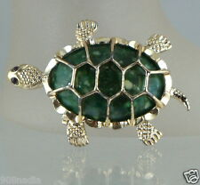 VINTAGE GOLD TONE,RED RHINESTONE EYES TURTLE BROOCH/PIN