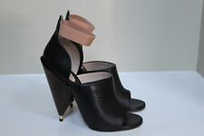 New  sz 8 / 38 GIVENCHY Black Leather Cone Wood Heel Ankle Sandal Shoes