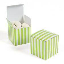"12 LIME GREEN WHITE Striped Treat Boxes 2"" Candy Buffet Favor Box Wedding Party"