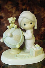 "Precious Moments- #522082 ""May Your World Be Trimmed w/Joy"" Boy w/Globe-NIB"