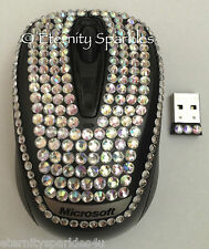 Personalizzati Crystal Design Microsoft Argento Shimmer Diamante USB Wireless Mouse