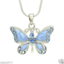 """BUTTERFLY W Swarovski Crystal Blue Wings Pendant Necklace 18"""" Chain Gift"""