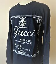 Men's GUCCI T-Shirt Long Sleeve Navy Blue T-Shirt  Size L Slim Fit