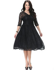 Women Formal Lace V Summer 3/4 Sleeve Evening Cocktail Party dress Plus Size 18W