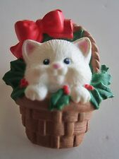 CHRISTMAS KITTY CAT IN A CHRISTMAS BASKET BROOCH PIN
