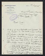 PARIS (XII°) BRASSERIE RESTAURANT DE LA COTE D'AZUR, E. LUNEAU Propriétaire 1926