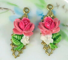 #673Q Vintage Rose Charms Flower Filigree Dangle Drops Earring Parts Wedding