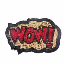 WOW Speech Bubble Cartoon Comic Iron Sew On Sequin Patch Applique Customise