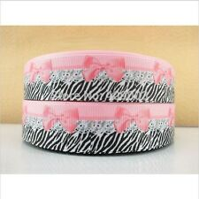 1 meter 25mm 1' Pink bow printed grosgrain ribbon hairbow decoration