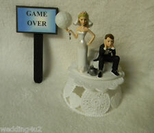 Wedding Reception Party Golf Club & Ball Game Over Sign Ball & Chain Cake Topper