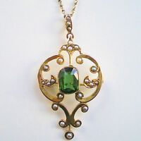 Antique Edwardian 9ct Gold Tourmaline & Seed Pearl Pendant Brooch Necklace c1905