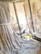 "Huge  Bespoke Silver Grey Chenille Velvet EP52""W 113""L Blackout Lined Curtains"