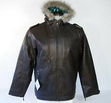 Special Blend Brown Leather Hooded Jacket Mens Medium M NWT