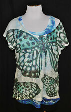 CHIC Live & Let Live 2pc Fishtail Sheer Butterfly Tank Top Blouse Tee T Shirt L