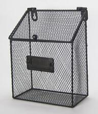 "Rustic Style Metal Wire Basket  Wall Pocket Organizer with Hinged Lid 8""x6"""