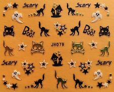 Nail Art 3D Decal Stickers Halloween Scary Black Cat Stars Ghost JH079